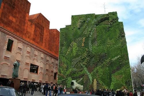 De verticale tuin van Patrick Blanc bij Caixa Forum in Madrid.