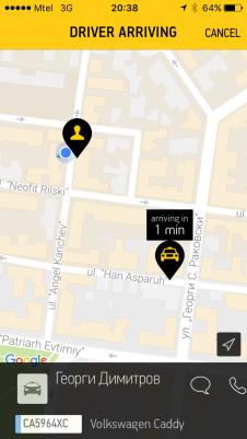 Taxi Me, taxiservice á la Uber in Sofia.